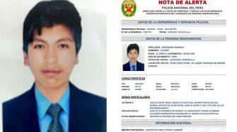 Álvaro Arosquipa, joven de 22 años desaparecido