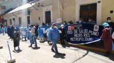 Trabajadores del Metropolitano protestando
